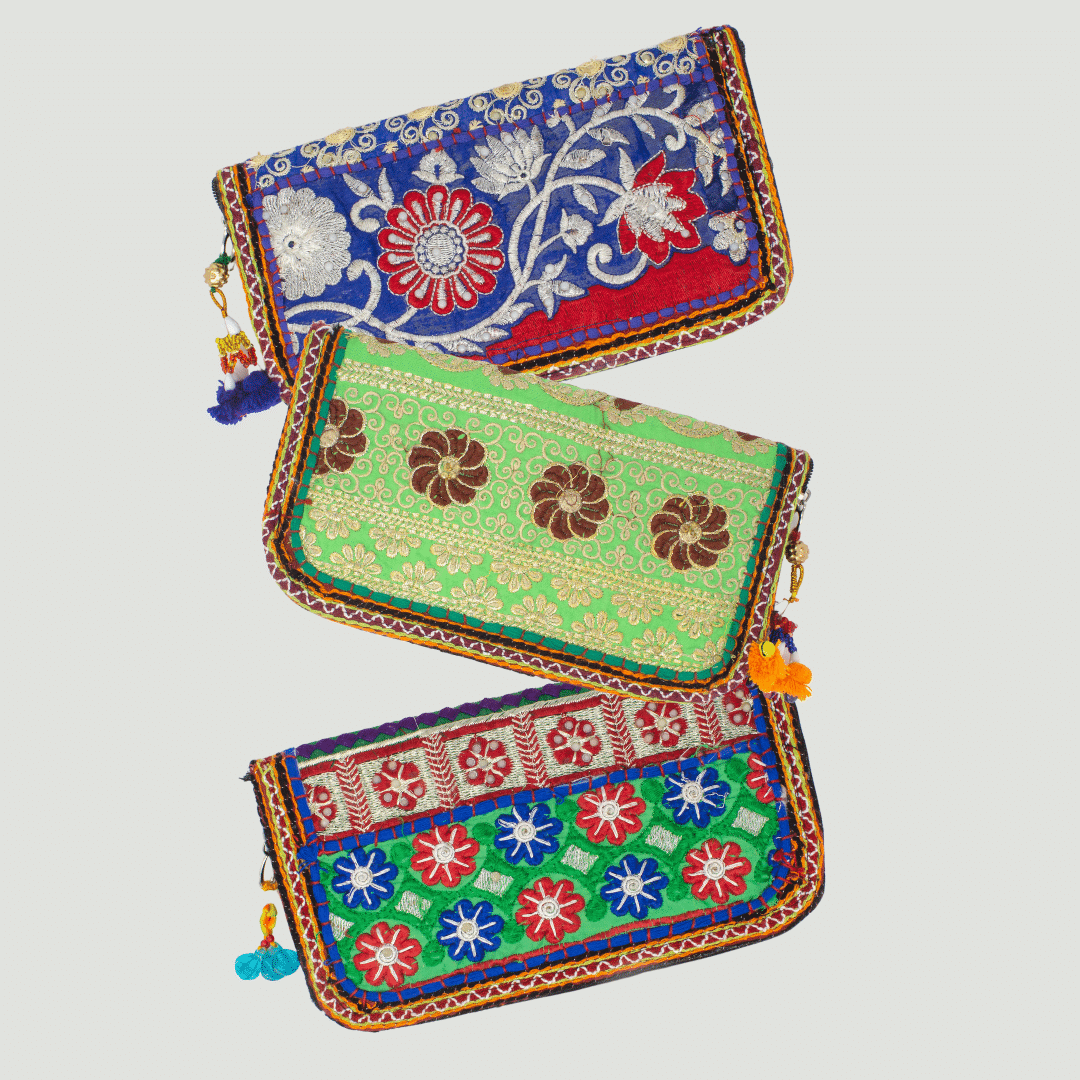 patchwork beaded purse for social impact